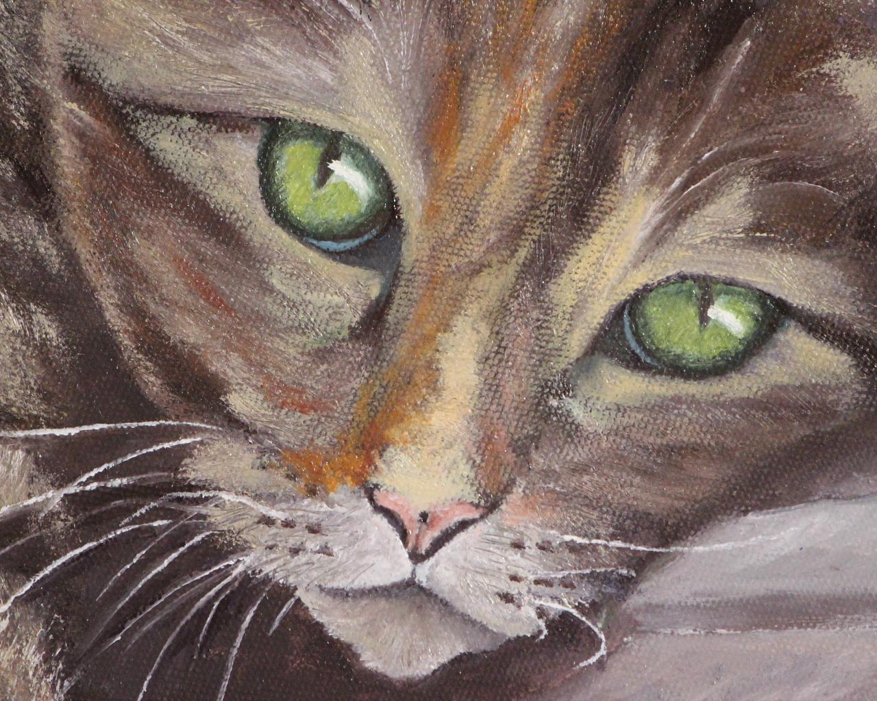 """""""Zielonooki kot"""" 40x30cm, olej na płótnie"""