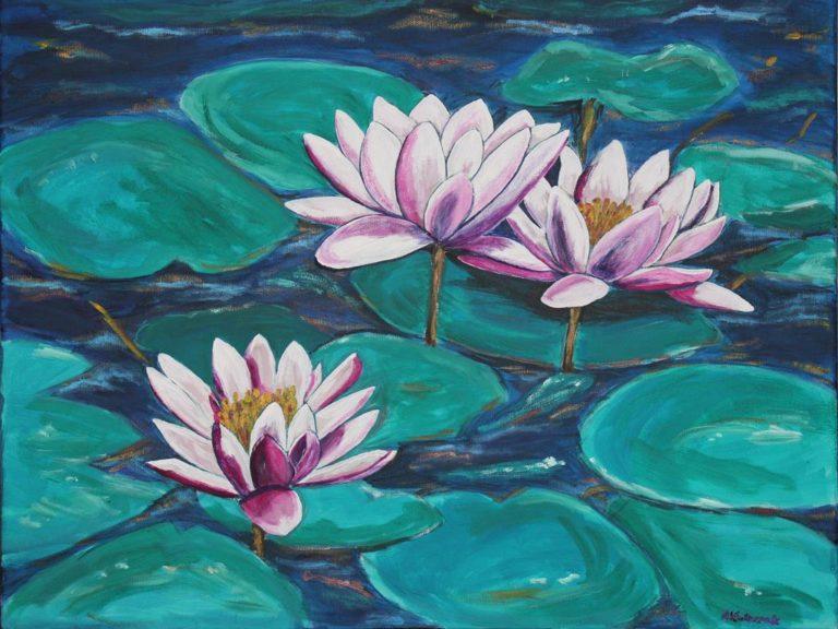 lilie wodne obraz akrylowy