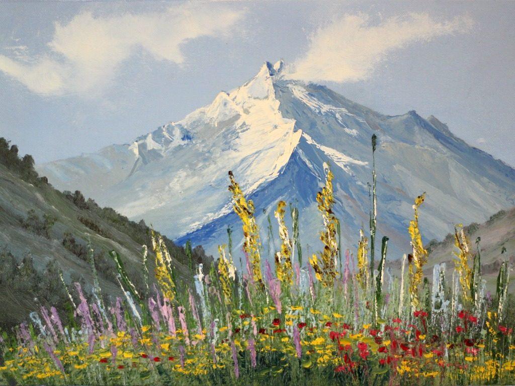 """""""Górski szczyt"""" 27x40cm, olej na płótnie"""