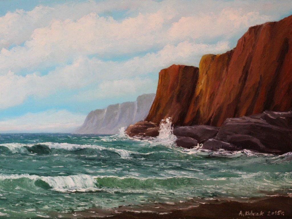 morze skały obraz olejny