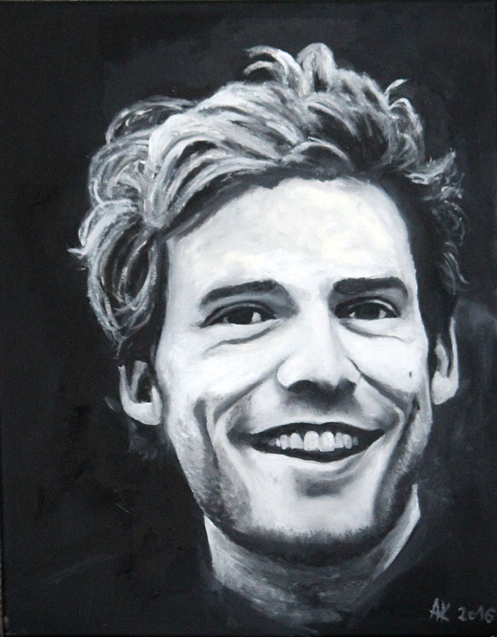 portret mężczyzny Anna Kubczak, olej na płótnie