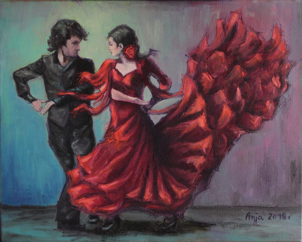 Taniec flamenco by Anna Kubczak, olej na płótnie