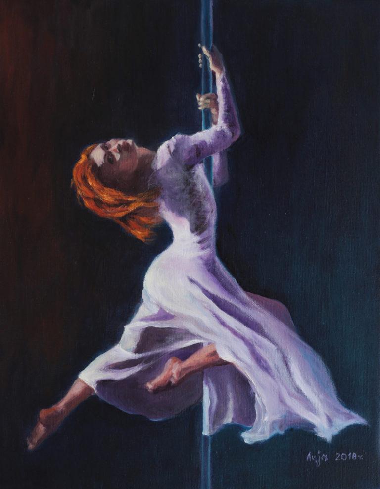 Taniec na rurze by Anna Kubczak, olej na płótnie