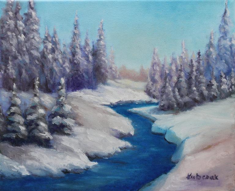 Zimowy pejzaż by Anna Kubczak, obraz olejny