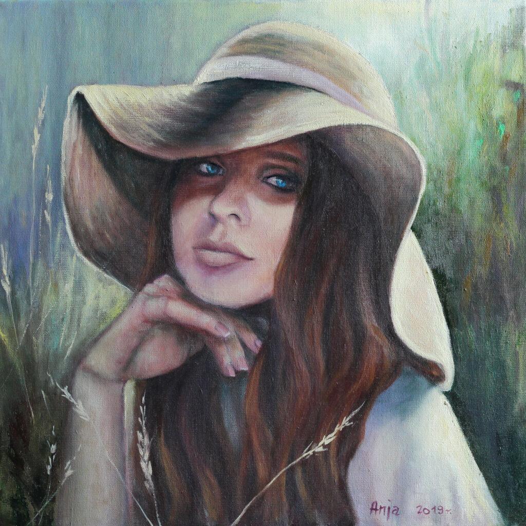 dziewczyna w kapeluszu obraz